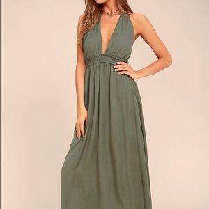 NWT Lulu's Olive Green Satin Maxi Dress Small